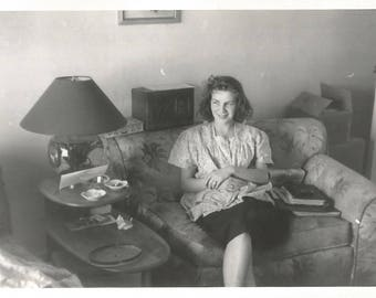 """Vintage Snapshot """"Baby's Asleep"""" Pretty Mother Relaxes Mid-Century Found Vernacular Photo"""