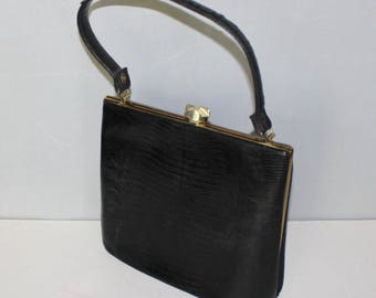 Lovely, Vintage Black, Genuine Lizard Handbag