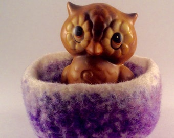 felted wool bowl, wool basket, felted container, jewelry holder, shades of purple and cream