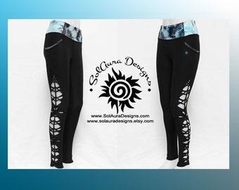 NAMASTE - Junior / Women Non-See Through High Waist Black Leggings, Cut and Weaved Black Yoga Leggings, Size Small, Medium, Large L-3002