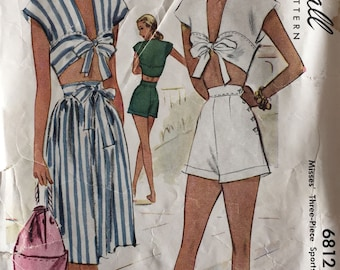 Vintage Sewing Pattern McCall's #6812 40s Playsuit Midriff Top Short Skirt Pattern ©1947 Size 18 Bust 36 Waist 30 Hips 39