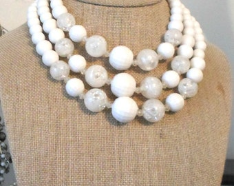 Coro vintage necklace 3 strands white faceted glitter 13.5 to 15 inches
