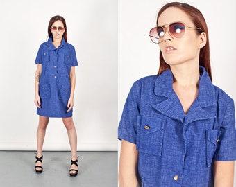 60s Denim Shirt Dress Vintage Vibrant Blue Denim Collar Shift Dress