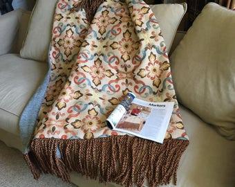 Throw Blanket Tribal Tapestry Wedding Blanket Moroccan African Design, Boho Throws OOAK Blue Orange Chenille Bedding, Mothers Day Gift, Rug