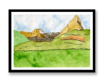 Original Fine Art Painting // Landscape Watercolour Painting //  line and wash // Watercolor // Ink // **Near and far**