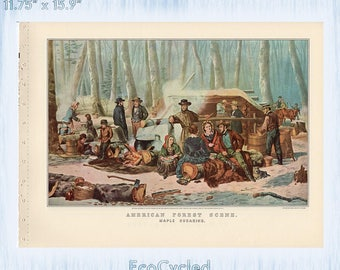 Currier & Ives Vintage Lithograph Print American Forest Scene Maple Sugaring / Preparing for Market Paper Ephemera Book Page  z21-22