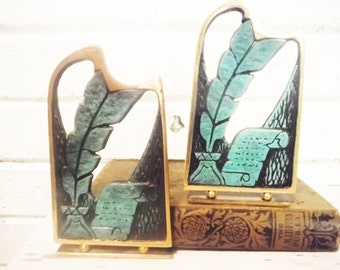 Brass bookends Judaica quill pen parchment study bar mitsvah made in israel pair