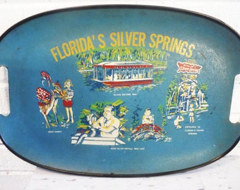 Vintage tray Silver Springs Florida souvenir mid century attractions sunshine state