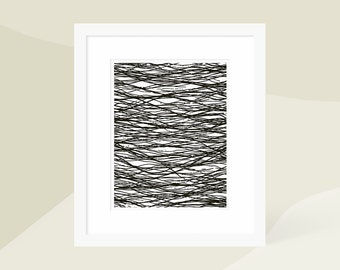 Modern Gallery Wall Art / Minimalist Abstract Art Print Black / Large Vertical Artwork / Framed and Matted / 18x24 16x20 11x14 8x10 5x7