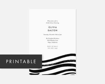 Minimalist Invitation Printable / Modern DIY Invite / Brush Strokes / Black and White / Bridal Shower, Baby Shower, Engagement Party