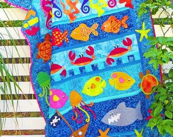 FISHY FISHY FISHY | pdf Quilt Pattern | Patterns | Quilt Patterns | Beach Quilts | Fish Quilt | Applique Quilts | Happy Quilts | Kids Quilts