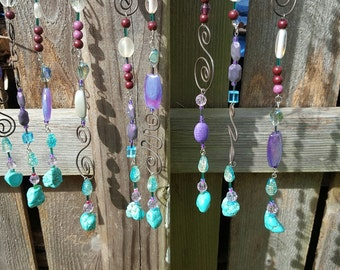 Sun Catcher, 9-Strand, Turquoise, Purple, and Clear -- Sun3