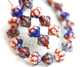 40pc Fancy bicone beads Mix, Patchwork, Blue, Grey, Red, Czech Glass pressed - 6mm - 0216