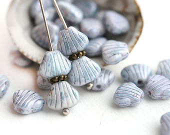30pc Grey Blue czech glass shell beads, Marbled Grey pressed seashell beads - 9x7mm - 3011