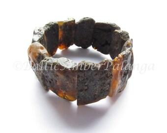 Baltic Amber Bracelet, Raw Unpolished Black Amber Bracelet