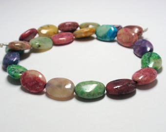 "African Opal Dyed Oval Beads, 10x14mm African Opal Gemstone Beads, 12"" Strand - 22 Beads"