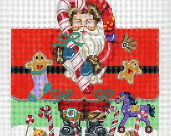 Handpainted Needlepoint Santa Roll-up Canvas - Red, Green, Black, Gold - Needlepoint Santa - Candy Cane Santa Roll Up