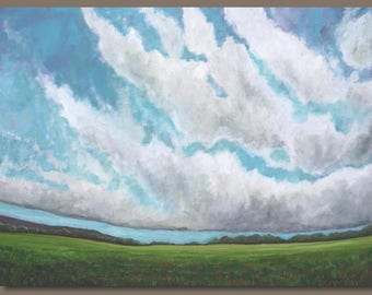 FREE SHIP large landscape painting, abstract painting, abstract clouds, cloudscape, green meadow, turquoise blue, field, big sky painting