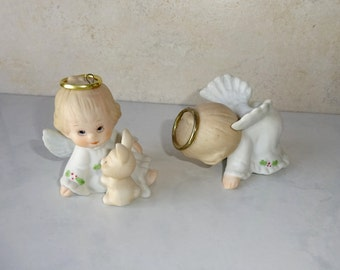 Vintage Angel Figurines Enesco Holly Babes Ceramic Angel Bunny Ruth Morehead Set of 2