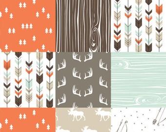 Woodland Moose Patchwork Baby Blanket or Quilted Comforter- Antlers, Be Brave, Pine tree, Moose, Lodge, Arrow, Stars, Orange, Tan, Mint