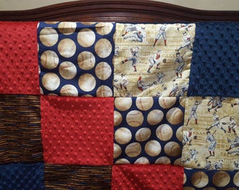 Baseball Baby Blanket - Vintage Navy Baseballs, Bats, Players,Crimson Minky, and Navy Minky Patchwork Baby Blanket