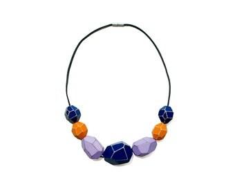 Wooden Gem Beads Necklace - Blue