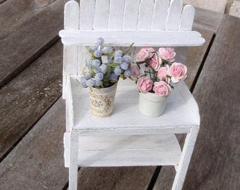 Dollhouse miniature gardening table with shelf  shabby chic, French dollhouse collectible accessory, 1:12th scale