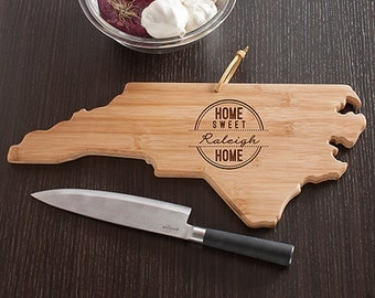 North Carolina State Shaped Cutting Board, Engraved NC Shaped Cheese Board Home Sweet Home