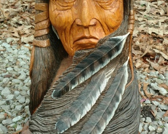Indian Handcarved Catawba Wood Native American Indian Inspired