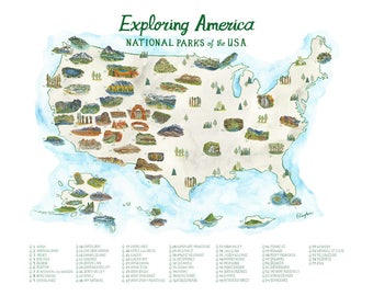 National Park Map with Checklist