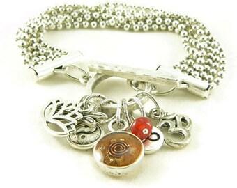 Orgone Energy Multi Strand Zen Charm Bracelet in Antique Silver with Carnelian-Meditation Bracelet - Orgone Energy Jewelry - Artisan Jewelry