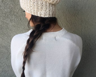 Slouchy Hat Knit Cream Beanie / Chunky Winter Beanie / Cream Ivory Off-White / Alpaca Yarn