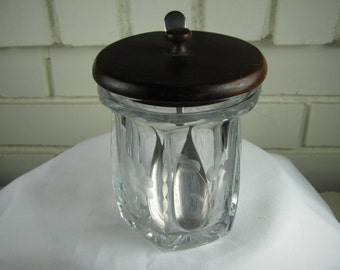 Heisey crystal mustard or jam jar with spoon Colonial pattern