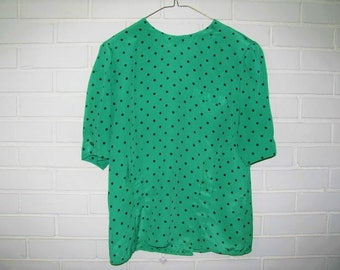 80's KELLY green ( not pale ) polka dot 40's style fitted blouse size 12