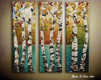 Birch Tree Original Painting.Landscape.Impasto.Palette Knife.Triptych.Birch Tree.Lake  -  by Nata S. - Made to Order