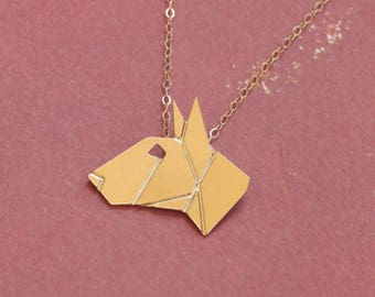 Bull Terrier Necklace , Origami Dog Necklace , Bull Terrier Jewelry , Gold Dog Necklace , Dog Jewelry , Origami Necklace , Geometric Dog
