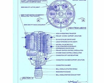 Retro Rocket Art, Sci Fi Art, Vintage Art, Digital Print, Geekery, Space Print, Space Poster, Space Age Art, Blueprint Drawing