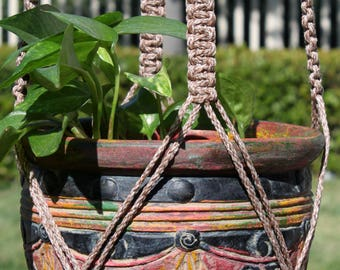 "CROWNE ROYALE - Multi-Color Handmade Macrame Plant Hanger Plant Holder with Ceramic Beads - 4mm Braided Poly Cord in ""POTTERY"""