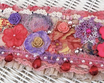 Boho bracelet cuff, fabric bracelet, textile jewelry, pink beaded cuff, lilac floral cuff, gift for her, gypsy bracelet, wearable art cuff