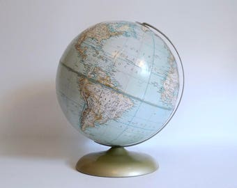 "Vintage 12"" World Globe Metal Stand Mid-Century Soviet Union - Rand McNally Political Globe - Made in USA"