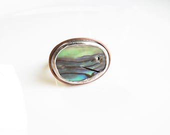 Statement Ring Size 8 1/4, Hammered Silver Ring, Paua Shell Ring, Abalone shell ring, Ring size 8.25, Upcycled jewelry, metalwork jewelry