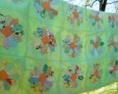 Summer Quilt, Vintage Quilt, Green Quilt, Cutter Quilt, Feed Sack Fabrics