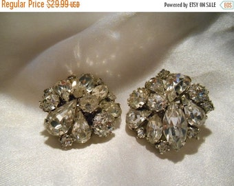 50% OFF SALE Stunning Weiss Rhinestone Clip Style Glamour Earrings