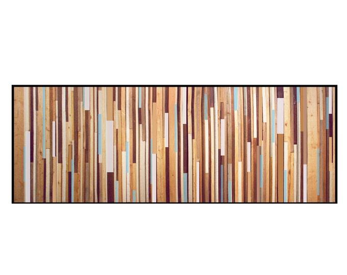 Blue WashReclaimed Wood Wall Art - Wood King Headboard in Browns, Tan, Cream, Light Blue, and Gray Stripes