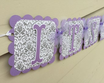 Purple and Grey Damask Baby Shower Its A Girl Banner