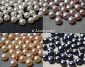 AAA Button pearl,Wholesale pearl,Freshwater Pearl,Half drilled pearl,button pearl stud earrings,Loose pearls 7.8-8.3mm 2Pcs white purple