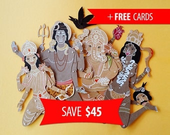 Set of Indian gods Shiva Ganesha Lakshmi Kali articulated paper dolls with free handmade greeting cards birthday gift lucky charm puppets