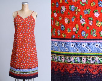 70s Floral Summer Dress Blue/Red Cotton Hippie Festival Dress