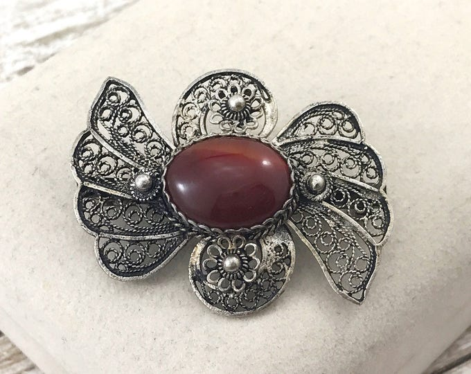 SPRING (SALE 50%) French Filigree Brooch, Antique Victorian Silver Filigree Bow Brooch with Carnelian Stone. Cannetille Carnelian Bow Brooch