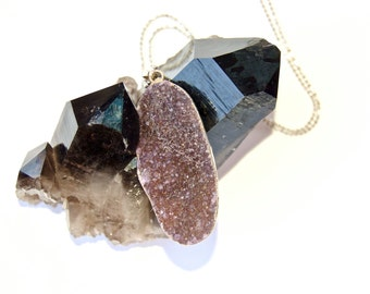 SALE-Druzy- Druze-Drusy- Amethyst-Raw mineral- Agate- Sparkling-Gold Necklace